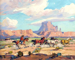 """Marjorie Reed, In the Valley of the Monuments, Oil on Board, 16"""" x 20"""""""