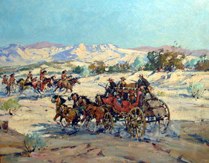 """Marjorie Reed, Indian Raid, Oil on Canvas, 25"""" x 30"""""""