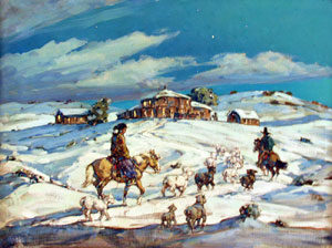 """Marjorie Reed, Late Arrival at Redlake Trading Post, Oil on Canvas, 30"""" x 40"""""""