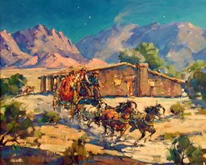 """Marjorie Reed, Leaving Butterfield Station at Vallecitos, Oil on Canvas Board, 21"""" x 25"""""""