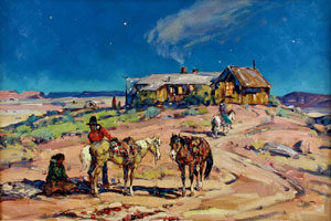 """Marjorie Reed, Moonlight Visit to Cow Springs Trading Post, Oil on Canvas, 24"""" x 36"""""""