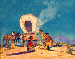 """Marjorie Reed, Navajo Family Camp, Oil on Canvas, 16"""" x 20"""""""
