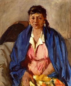 "Odon Hullenkremer, Blue Shawl, Circa 1940, Oil on Canvas, 24"" x 20"""