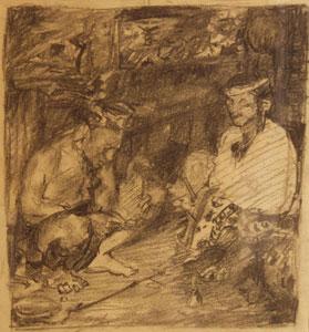 "Odon Hullenkremer, Portrait Two Pueblo Indians, Conte Crayon on Paper, 9"" x 8"""
