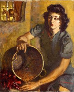 "Odon Hullenkremer, Red Peppers, Circa 1940, Oil on Board, 24"" x 20"""