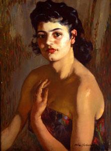 "Odon Hullenkremer, Santa Fe Beauty, Circa 1940, Oil on Canvas, 24"" x 18"""