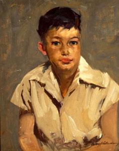 "Odon Hullenkremer, Young New Mexico Boy, Circa 1930, Oil on Canvas Board, 20"" x 16"""