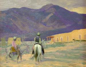"Oscar Berninghaus, Taos Adobe Home, Oil on Panel, CIrca 1914, 8"" x 12"""