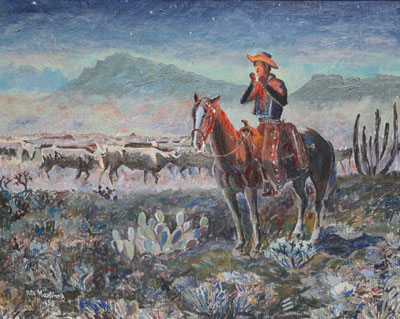 "Pete Martinez, Cowboy and Cattle, c. 1955, Oil on Canvas, 30"" x 36"""