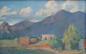 """Ralph Goltry, Adobe Home, Oil on Canvas, c. 1930, 18"""" x 28"""""""