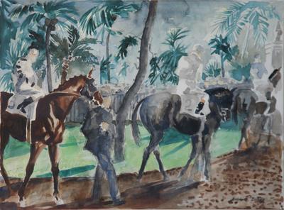 """Randall Davey, Hialeah Paddock, Circa 1950, Watercolor, 16"""" x 22"""""""