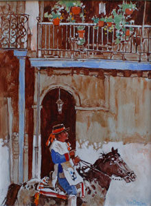 """Ross Stefan, The French Quarter - New Orleans, Oil on canvas, 16"""" x 12"""""""