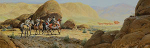 """Russ Vickers, The Stage From Wickenburg, Oil on Canvas Board, 1978, 4.5"""" x 12.5"""""""