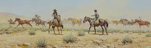 """Russ Vickers, The Wild One, Oil on Canvas Board, 1978, 4.5"""" x 12.5"""""""