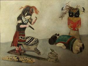 """Stefan Hirsch, Kachinas, Oil on Canvas, 1929, 20"""" x 26"""""""