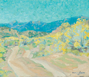 """Walter Ufer, A Road in the Rockies, October 1915, Oil on Canvas, 10"""" x 11"""""""