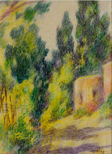 """Warren E. Rollins, Adobe with Trees, Crayon on Paper, 12"""" x 9"""""""