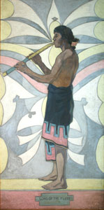"""Warren Rollins, Song of the Flute, Oil on Canvas, mural, 84"""" x 42"""""""