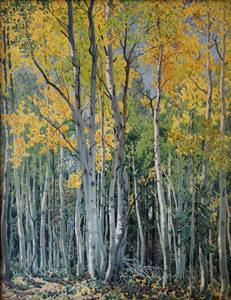"Gunnar M. Widforss, Aspens, Watercolor, c. 1924, 24.5"" x 19.5"""