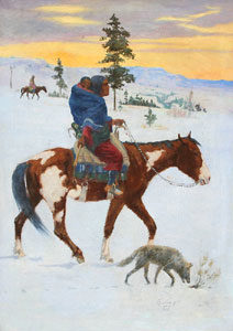 """William Gollings, Indian on Horseback, Oil on Canvas, 34"""" x 24"""""""