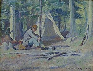 "William Herbert Dunton, A Lazy Day in Camp, Circa 1916, Oil on Canvas Board, 8"" x 10"""