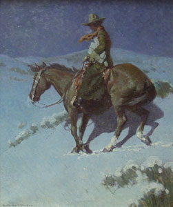"""William Herbert Dunton, Delivering the Mail, Circa 1912-15, Oil on Canvas, 30"""" x 25"""""""
