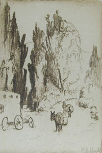 """William Howard Shuster, Scene in Santa Fe, Circa 1930, Etching, 3"""" x 2"""""""